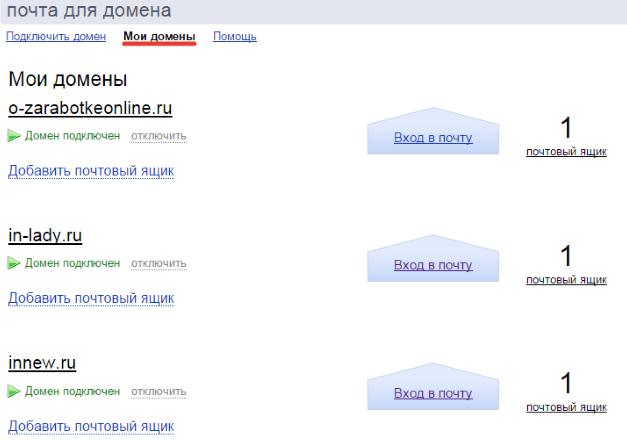 подключенные домены на яндекс