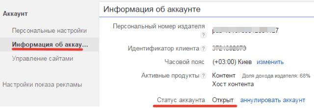подтвержденный аккаунт адсенс