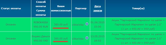 заработок в партнерской программе евгения вергуса с 13 мая по 1 июня 2015