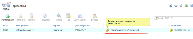 проходит процедура регистрации домена