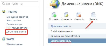 редактирование dns-записей домена на offerhost